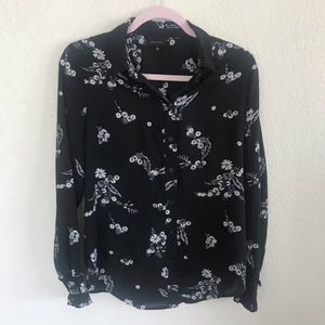 Who What Wear Floral Top with Ruffle Sleeve